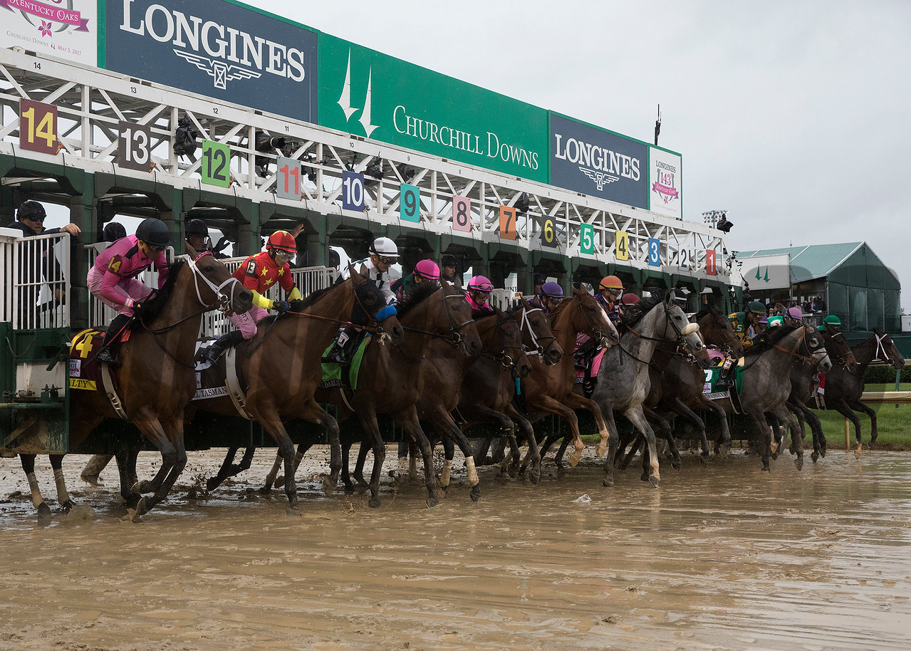 The field leaving the staring gate in the Kentucky Oaks on Friday, May 5th, 2017 at Churchill Downs.