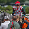 Jockey Manuel Franco gives trainer Norman Casse a hand shake after he guided World Approval to the win inthe 33rd running of The Fourstardave at the Saratoga Race  Course Aug. 12, 2017  in Saratoga Springs, N.Y.  (Skip Dickstein/