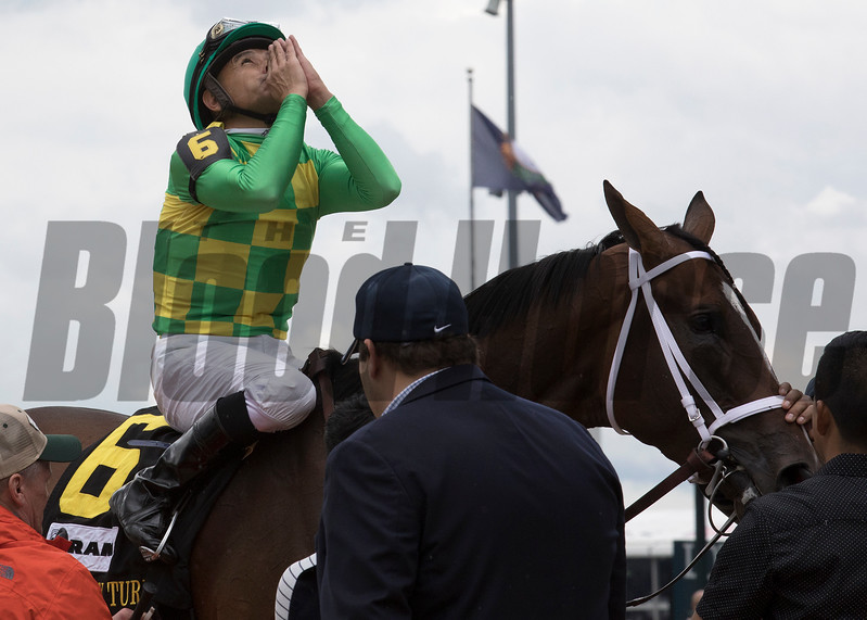 Mike Smith and Arklow after winning the American Turf on Saturday, May 6th, 2017 at Churchill Downs.