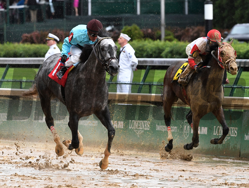 Bird Song with jockey Julien Leparoux wins the 14th running of The Alysheba May 5, 2017 at Churchill Downs in Louisville, KY.  Photo by Skip Dickstein