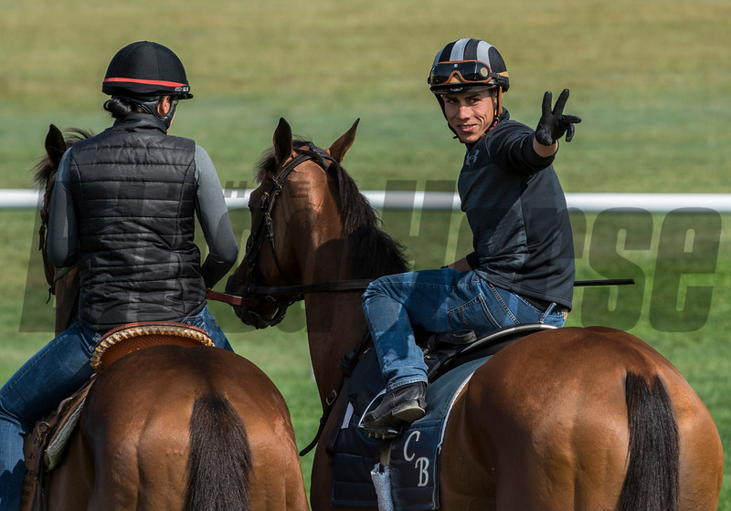"Jockey Irad Ortiz jr. ""horses"" around before taking Lady Eli for a spin on the turf course at the Oklahoma Training Center track Sunday Aug. 20, 2017 in Saratoga Springs, N.Y. Photo: Skip Dickstein"