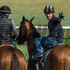 """Jockey Irad Ortiz jr. """"horses"""" around before taking Lady Eli for a spin on the turf course at the Oklahoma Training Center track Sunday Aug. 20, 2017 in Saratoga Springs, N.Y. Photo: Skip Dickstein"""