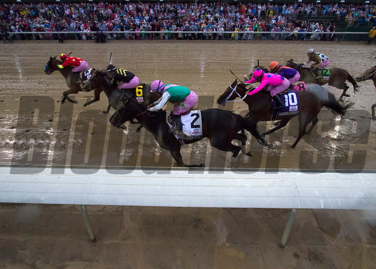 Abel Tasman leading the field down the strech in the Kentucky Oaks on Friday, May 5th, 2017 at Churchill Downs.