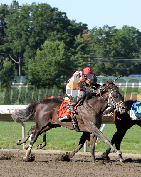 Girvin (#7) with Robby Albarado win the 50th Running of the Haskell Invitational (GI) over McCraken (#5) with Brian Hernandez Jr. at Monmouth Park on July 30, 2017. Photo By: Chad B. Harmon