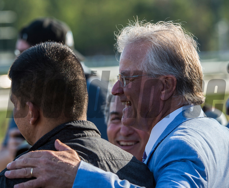 Trainer Bill Mott is all smiles after winning the 137th running of The Alabama Saturday Aug. 19, 2017 at the Saratoga Race Course in Saratoga Springs, N.Y.  (Skip Dickstein