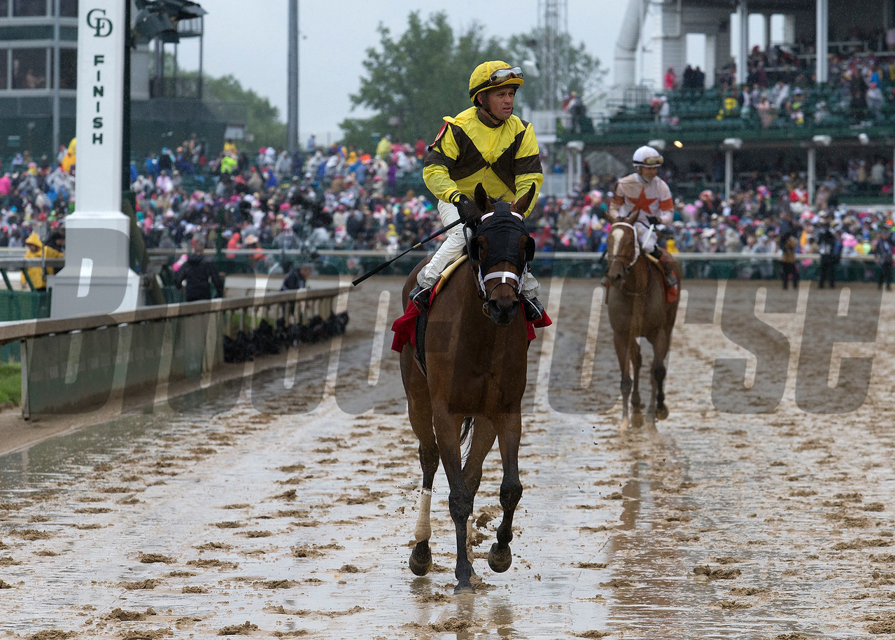 Benner Island and Javier Castellano coming back after winning the Eight Belles on Friday, May 5th, 2017 at Churchill Downs.