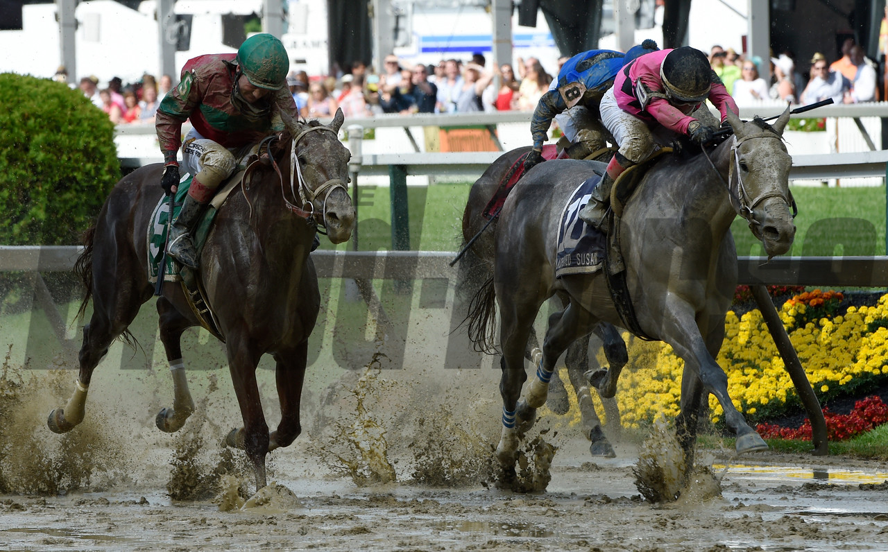 Actress with jockey Nik Juarez, right out duels #5 Lights of Median with jockey Feargall Lynch is jubilant to win the 92nd running of The Black-Eyed Susan May 19, 2017 at Pimlico Race Course in Baltimore, MD.  Photo by Skip Dickstein