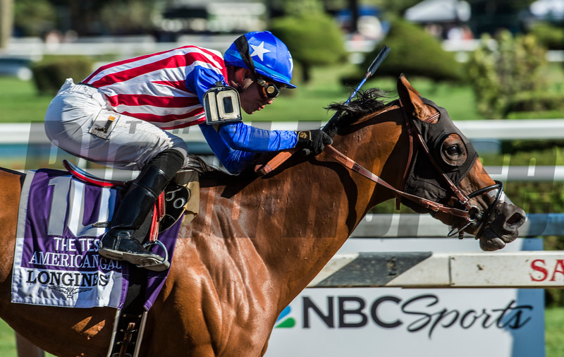 American Gal with jockey Jose Ortiz wins the 92nd running of the Longines Test Stakes at the Saratoga Race Course  Saturday Aug. 5, 2017 in Saratoga Springs, N.Y.  (Skip Dickstein