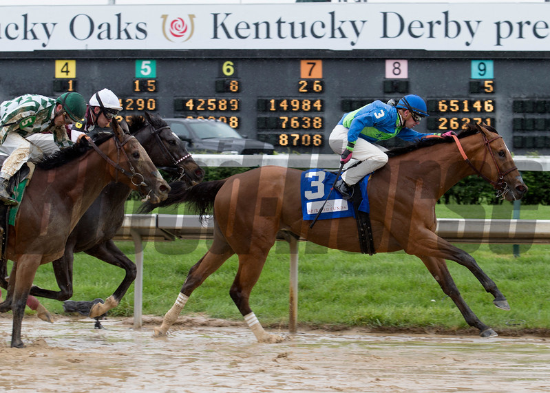 Big World and Florent Geroux coming down the stretch in the La Troienne on Friday, May 5th, 2017 at Churchill Downs.
