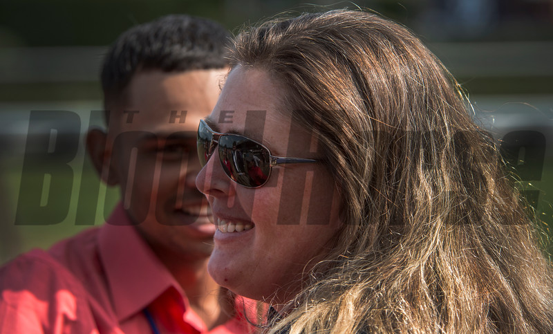By the Moon's trainer, Michelle Nevin is all smiles after winning the 39th running of The Ketel One Ballerina at the Saratoga Race Course in Saratoga Springs, N.Y.  (Skip Dickstein