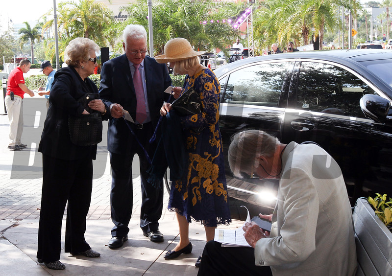 Frank Stronach,Elfriede Stronach arrive at the 2017 Pegasus World Cup