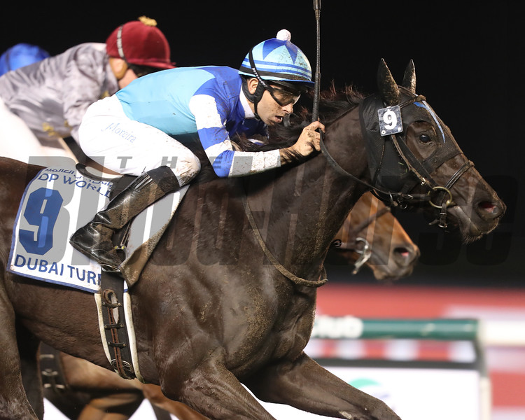 Viclos with Joao Moreira wins the $6 million Dubai Turf (G1) at Meydan Racecourse on March 25, 2017