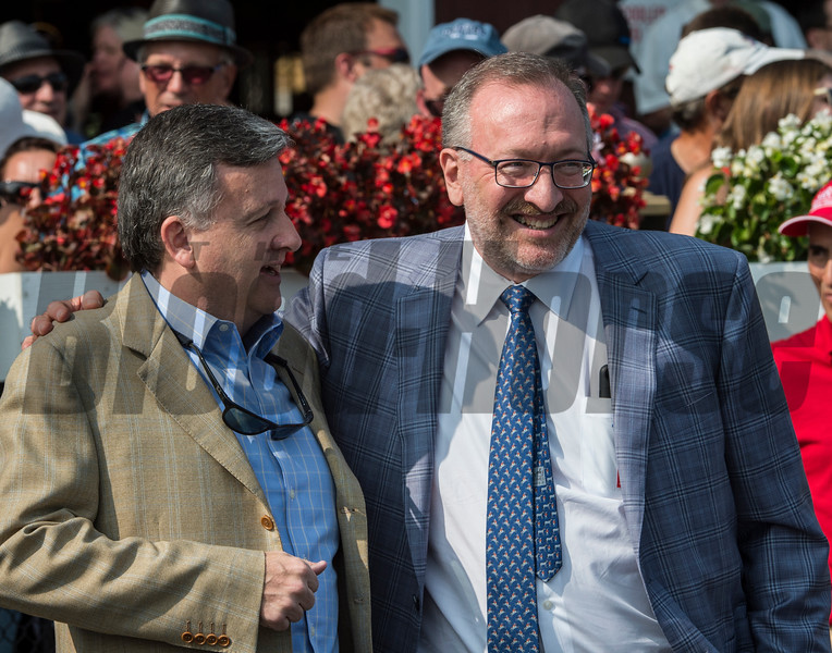 Practical Joke's owners Bill Lawrence, left and Seth Klarman enjoy the win in the 33rd running of The H. Allen Jerkens at the Saratoga Race Course in Saratoga Springs, N.Y.  (Skip Dickstein/