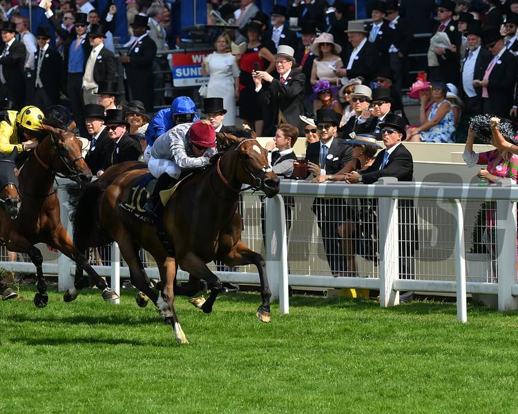 Qemah, Gregory Benoist win the Duke of Cambridge Stakes, Royal Ascot, Ascot, UK 6/21/17, photo by Mathea Kelley