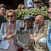 Trainer Dallas Stuart, second from right joins owner Charles Fipke, third from right and jockey Joel Rosario in the winner's circle after Forever Unbridled won the 70th running of The Personal Ensign at the Saratoga Race Course in Saratoga Springs, N.Y.  (Skip Dickstein