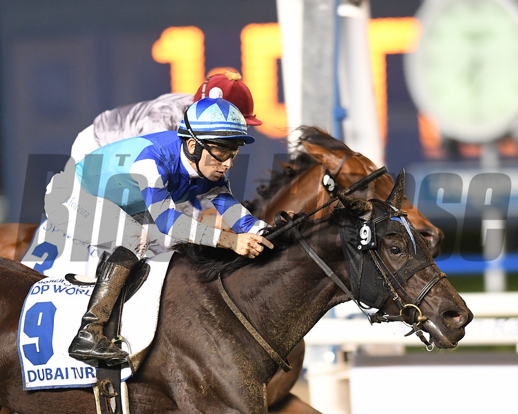 Dubai World Cup  3/25/17, photo by Mathea Kelley/Dubai Racing Club<br /> Vivlos, Joao Moreira up, win the Dubai Turf