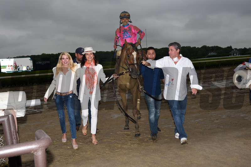 Holiday Disguise wins $125,000 the Bouwerie Stakes at Belmont Park on May 29 2017