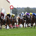 Stradivarius (yellow cap) and Andrea Atzeni win the Group 2 Queens Vase Stakes, Royal Ascot, Ascot, UK, photo by Mathea Kelley 6/23/17