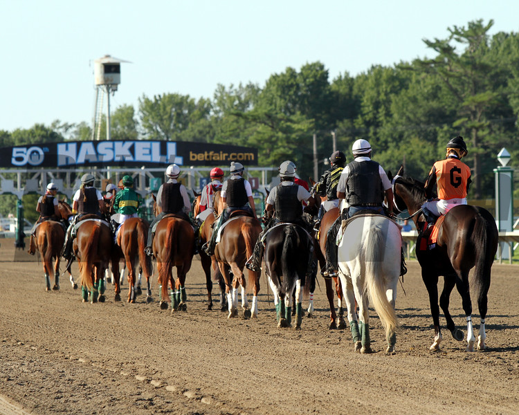 The post parade for the 50th Running of the Haskell Invitational (GI) at Monmouth Park on July 30, 2017. Photo By: Chad B. Harmon