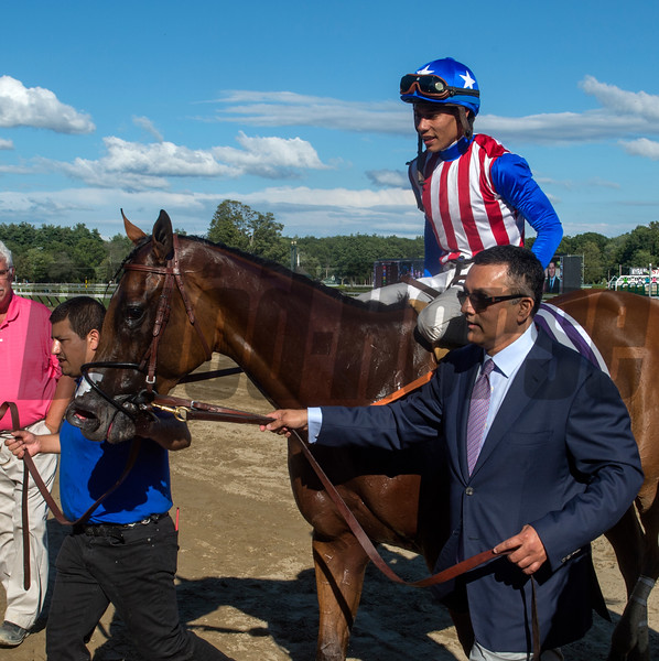Kaleem Shah leads American Gal with Jose Ortiz to the winner's circle after winning the 92nd running of The Longines Test at the Saratoga Race Course  Saturday Aug. 5, 2017 in Saratoga Springs, N.Y.  (Skip Dickstein
