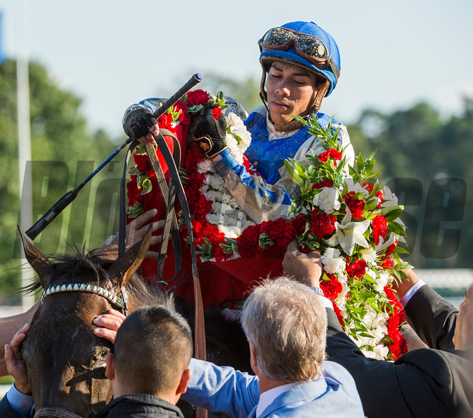 Trainer Bill Mott shades the eye of his charge Elate as they put the winner's blanket as jockey Jose Ortiz assists after winning the 137th running of The Alabama Saturday Aug. 19, 2017 at the Saratoga Race Course in Saratoga Springs, N.Y.  (Skip Dickstein