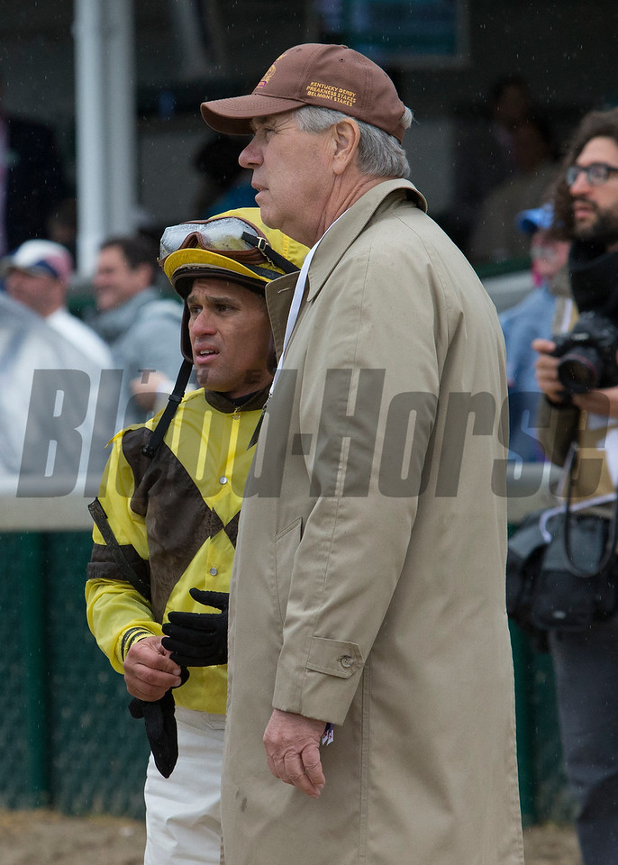 Javier Castellano waiting out an inquiry after  the Eight Belles on Friday, May 5th, 2017 at Churchill Downs.