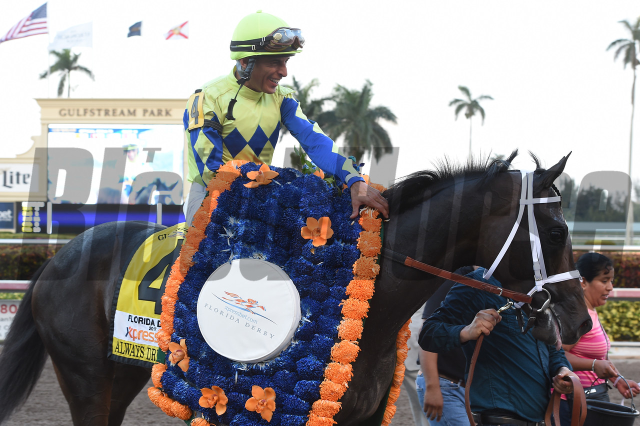 Always Dreaming wins the Xpressbet Florida Derby (G1) at Gulfstream Park on April 1, 2017