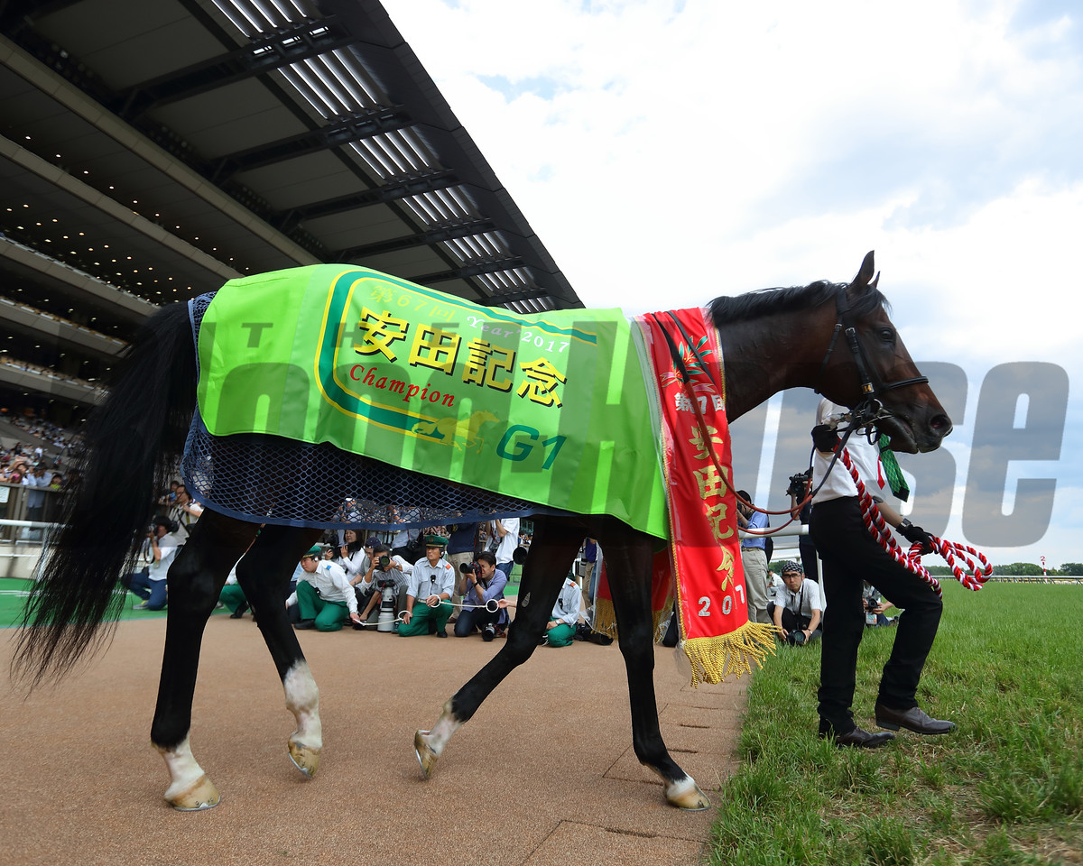 Satono Aladdin wins the Group 1 Yasuda Kinen under jockey Yuga Kawada at Tokyo Racecourse on June 4 2017
