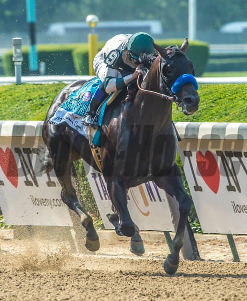 Mor Spirit with Mike Smith wins the 124th running of The Mohegan Sun Metropolitan June 10, 2017 at Belmont Park in Elmont, N.Y.  Photo by Skip Dickstein