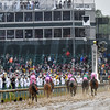 Rainy weather kept many people from witnessing Abel Tasman's last-to-first run in the 2017 Kentucky Oaks.