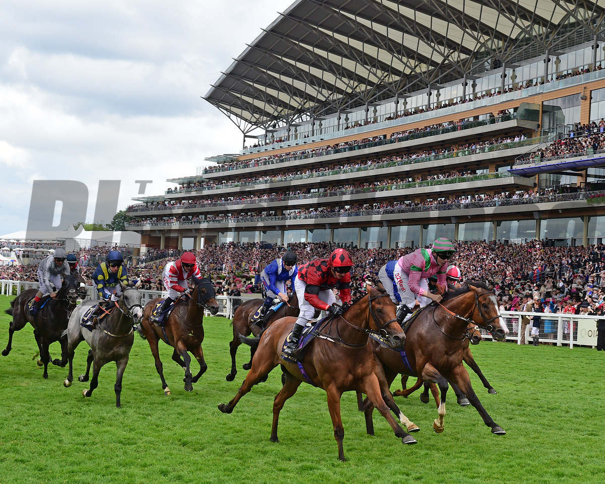 Snoano, David Allen, (red and balck cap) win the Wolferton Handicap Stakes Royal Ascot, Asoct UK, 6/24/17, photo by Mathea Kelley