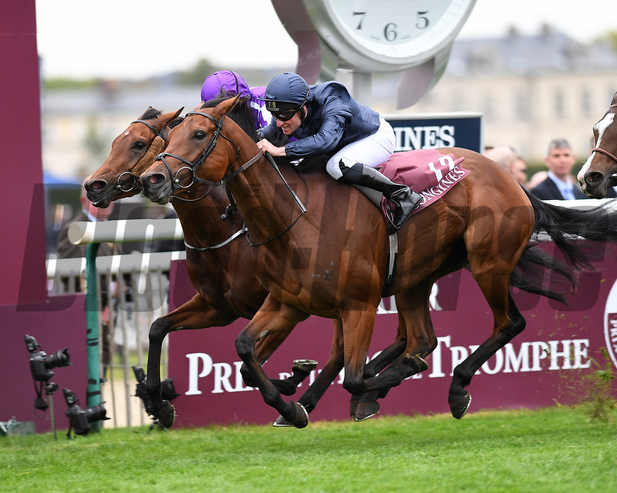 Rhododendron wins the 2017 Prix de l'Opera (G1), Chantilly France, photo by Mathea Kelley