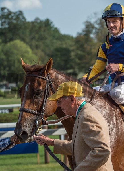 Owner Rene Woolpot leads Sadler's Joy with jockey Julien Leparoux to the winner's circle after the win in the 43rd running of The Sword Dance at the Saratoga Race Course in Saratoga Springs, N.Y.  (Skip Dickstein