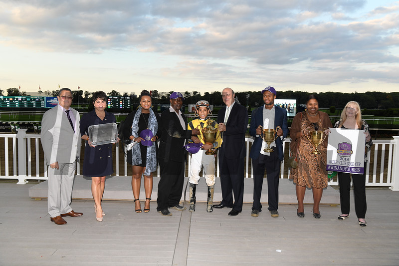 Discreet Lover wins 2018 Jockey Club Gold Cup Stakes at Belmont Park. Coglianese Photos