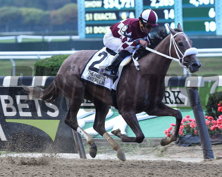 Jaywalk wins 2018 Frizette Stakes at Belmont Park. Photo: Coglianese Photos