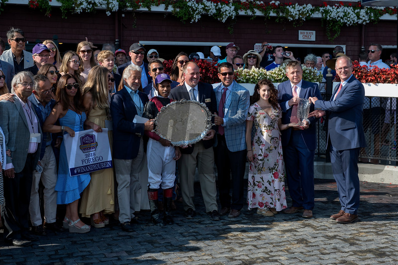 Marley's Freedom with jockey Mike Smith wins the 40th running of The Ketel One Ballerina  at the Saratoga Race Course Saturday Aug. 25, 2018 in Saratoga Springs, N.Y.  Photo by Skip Dickstein