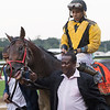Uriah St. Lewis leads Discreet Lover with Manny Franco to the winner's circle after winning the 100th running of The Jockey Club Gold Cup at Belmont Park Saturday Sept. 29, 2018 in Elmont, N.Y.  Photo by Skip Dickstein