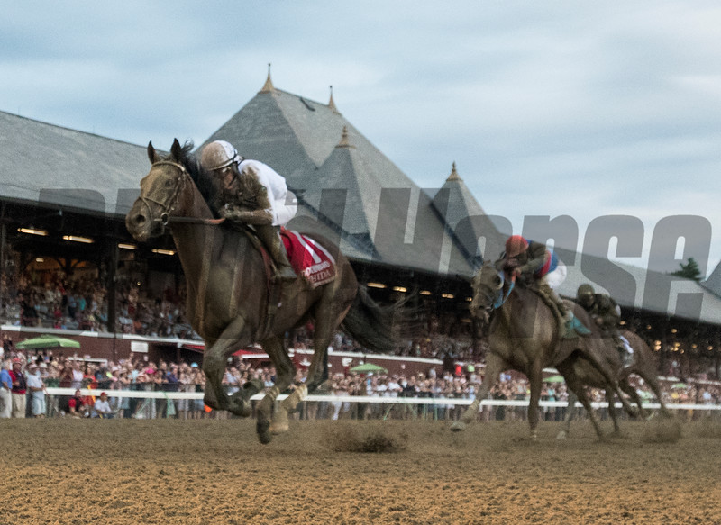 Yoshida wins the Woodward Stakes Presented by NYRA Bets at Saratoga Saturday, September 1, 2018. Photo: Skip Dickstein