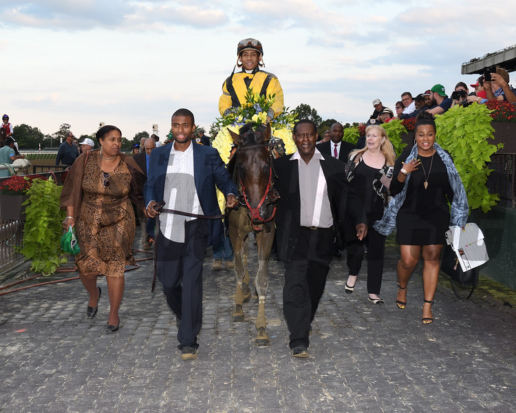 Discreet Lover wins 2018 Jockey Club Gold Cup Stakes at Belmont Park. Photo: Coglianese Photos