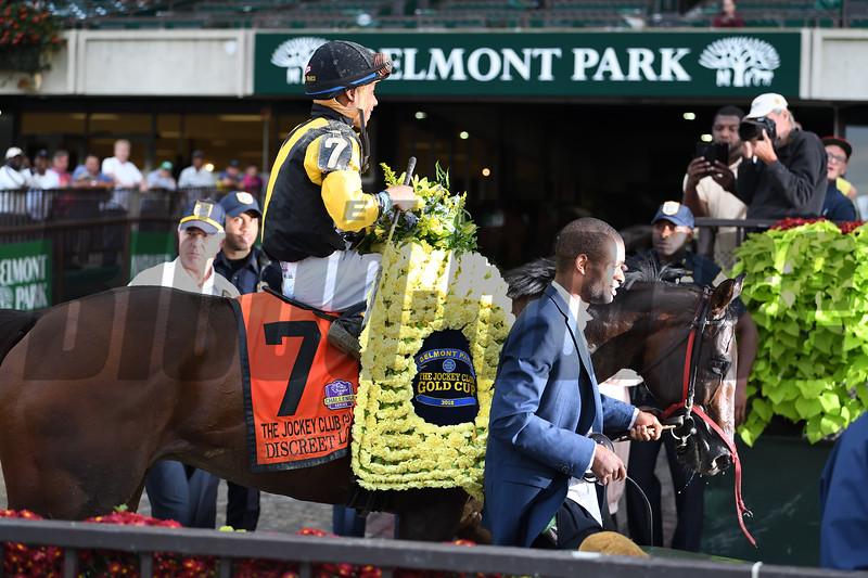 Discreet Lover wins 2018 Jockey Club Gold Cup Stakes at Belmont Park. Photo: Coglianese Photos/Viola Jasko