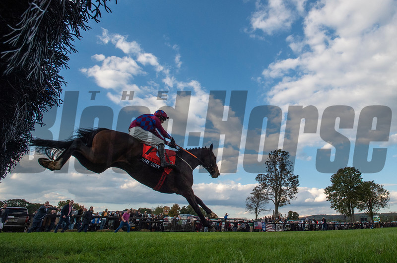 Jury Duty ridden by Robbie Power, owned by Sideways Syndicate takes the final fence on the way to the win in The Grand National (G1) at the Far HIlls Race Meet Saturday Oct. 20, 2018 in Far Hills, N.J.  Photo by Skip Dickstein