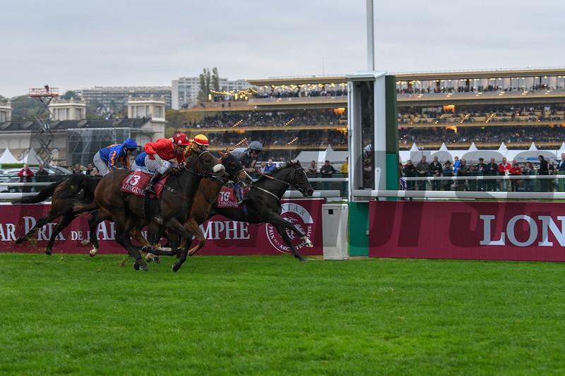 Mabs Cross wins the 2018 Prix De Le L'Abbaye De Longchanmp Longines,  Qatar Prix de l'Arc de Triomphe; Longchamp Racecourse; Paris; France. Photo: Mathea Kelley