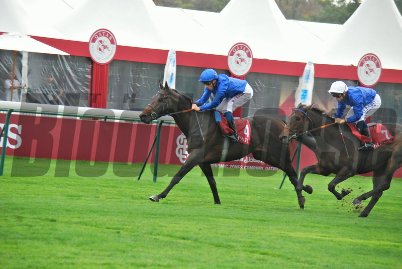 Hi Bloodhore finish of se.<br /> <br /> Please find attached  photo at the finish of the Qatar Prix  Chaudenay Group 11 race at Longchamp, won by Bruntland  and jockey W.Buick.