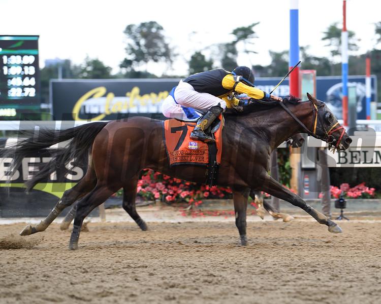 Discreet Lover wins 2018 Jockey Club Gold Cup Stakes at Belmont Park. Coglianese Photos/Viola Jasko