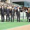 Make Happy wins the 2018 Cattleya Sho at Tokyo Racecourse<br /> Trainer Mr. Koichi Shinkai (right of horse), Jockey Christope Lemaire, owner Mr. Teruya Yoshida (to Lemaire's left)<br /> Katsumi Saito Photo