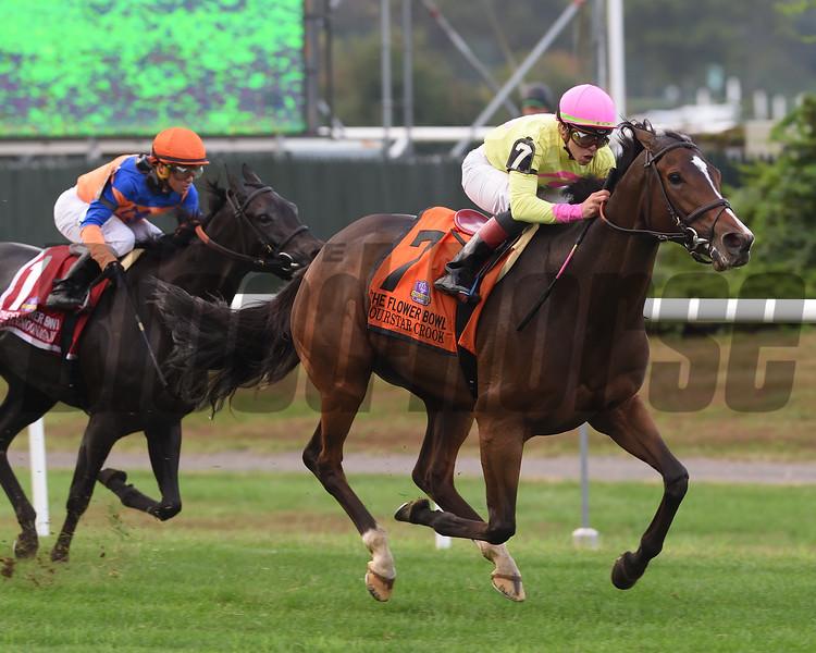 Fourstar Crook wins 2018 Flower Bowl Stakes at Belmont Park. Photo: Coglianese Photos