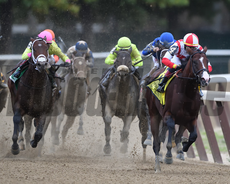 Complexity wins the 2018 Champagne Stakes at Belmont Park. Photo: Coglianese Photos/Robert Mauhar