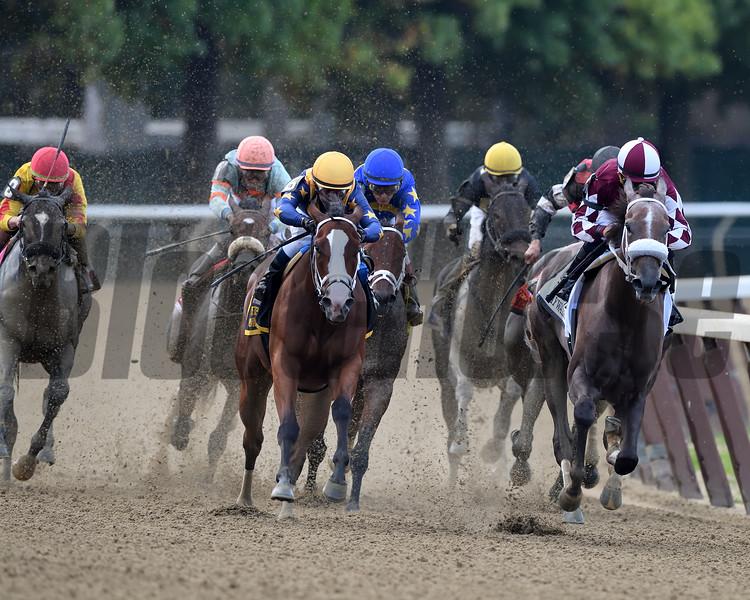 Jaywalk wins 2018 Frizette Stakes at Belmont Park. Photo: Coglianese Photos/Rob Mauhar