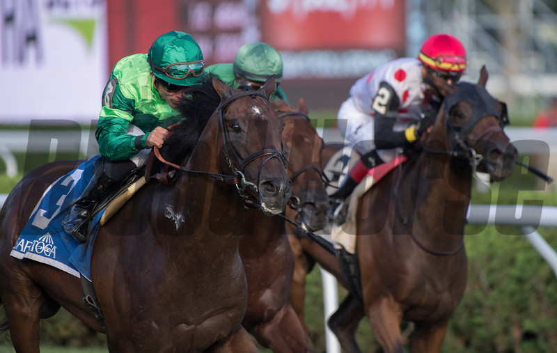Raging Bull wins the Saranac at Saratoga Race Course Saturday Sept. 1, 2018  in Saratoga Springs, N.Y.  Photo: Skip Dickstein