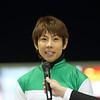 Yuichi Kitamura after winning the 2018 Zen Nippon Nisai Yushun at Kawasaki Racecourse aboard Nova Lenda <br /> Photo: Masakazu Takahashi
